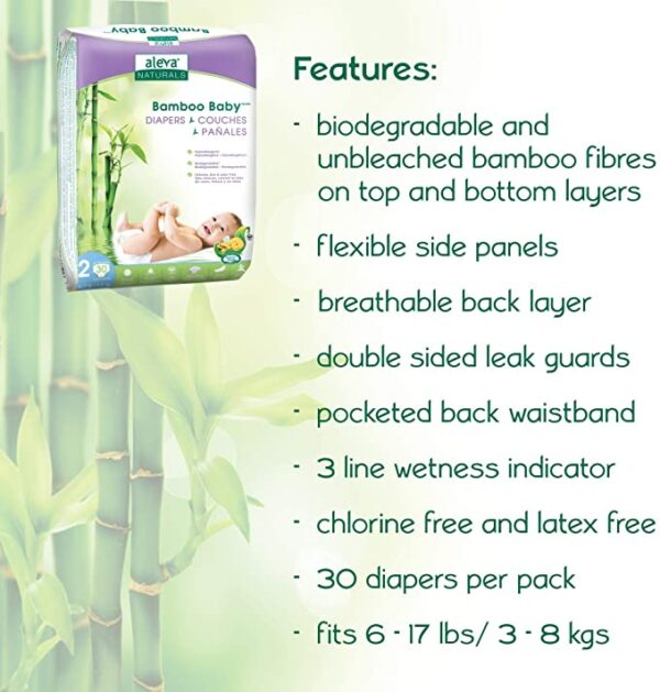 Aleva Naturals Bamboo Baby Diapers - Size 2 - Sebcare