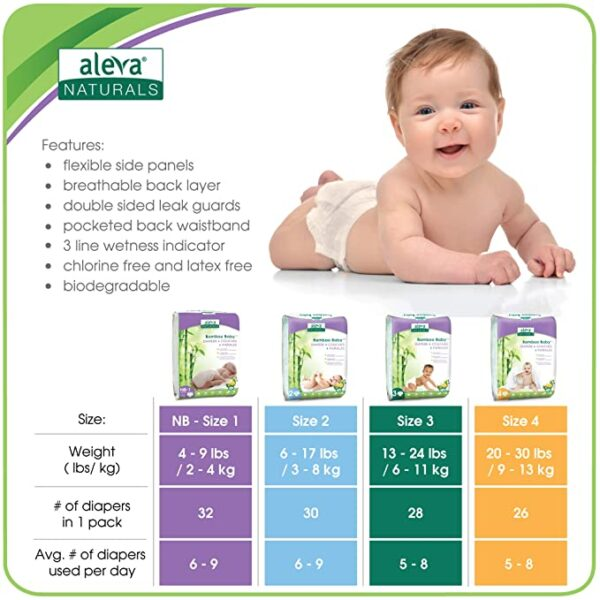Aleva Naturals Bamboo Baby Diapers - Size 2