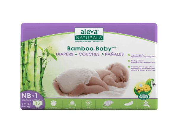 Aleva Naturals Bamboo Baby Diapers - Size Nb 1