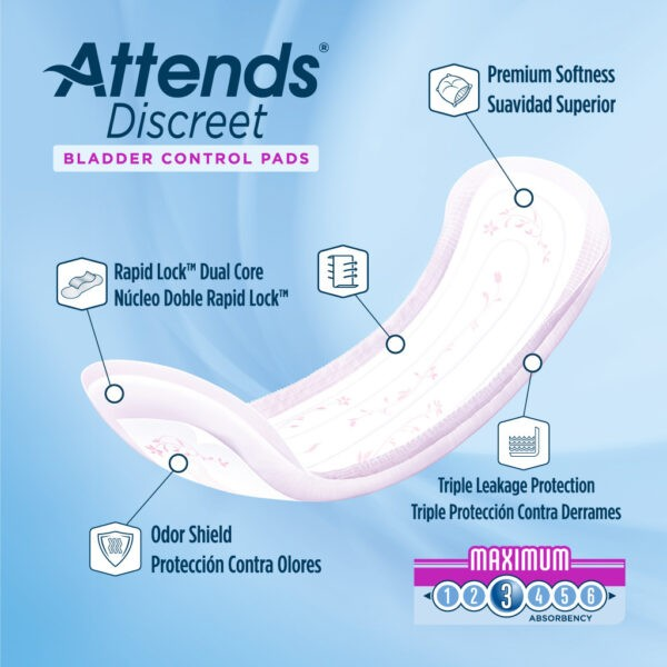 Attends Discreet Women's Maximum Pads - Size 13