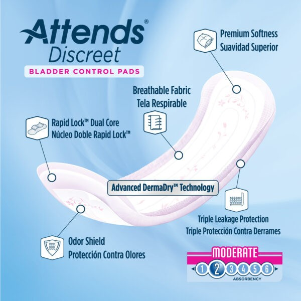 Attends Discreet Women's Moderate Pads - Size 10.5