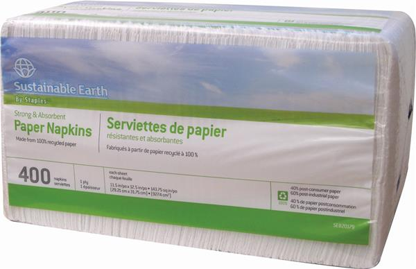 "Sustainable Earth™ 100% Recycled Luncheon Napkins, 1-Ply, White, 12"" x 12"", 400 Napkins/Pack"
