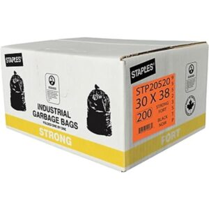 "Garbage Bags, Strong, Black, 30"" x 38"", 200-Pack"
