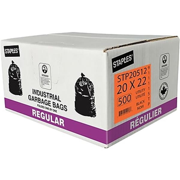 "Garbage Bags, Utility, Black, 20"" x 22"", 500-Pack Exclusive"