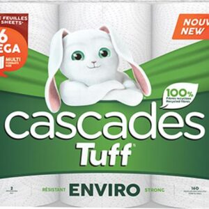 Cascades TuffTM Enviro Strong, Kitchen Roll Towels, 100% Recycled, 2-Ply, 160 Sheets/Roll, 6 Rolls/Pack