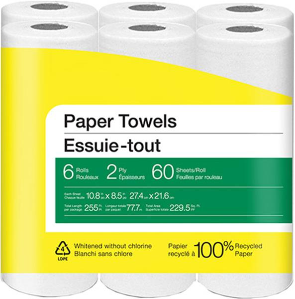 Paper Towels, 2-Ply, 60 Sheets/Roll, 6 Rolls/Pack